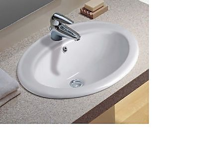 Top Mount Vanity Sink 1 Hole 00893 White Bathrom Sinks Oval